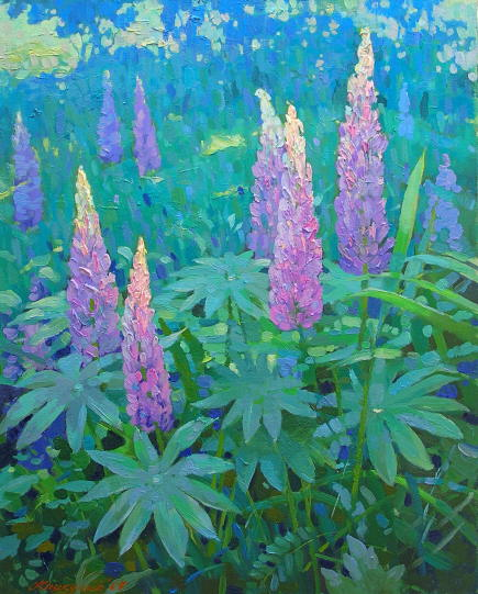 Lupines - landscape painting, oil on canvas.